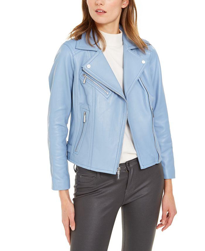 Michael Kors - Leather Side-Strap Moto Jacket