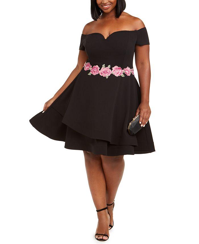 B Darlin - Trendy Plus Size Off-The-Shoulder Fit & Flare Dress