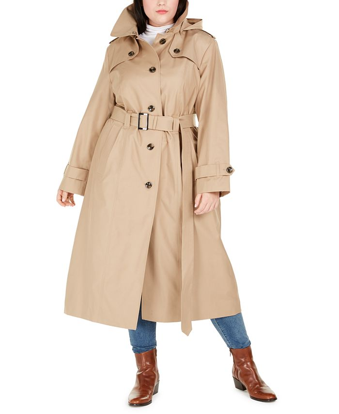 London Fog - Plus Size Hooded Trench Coat