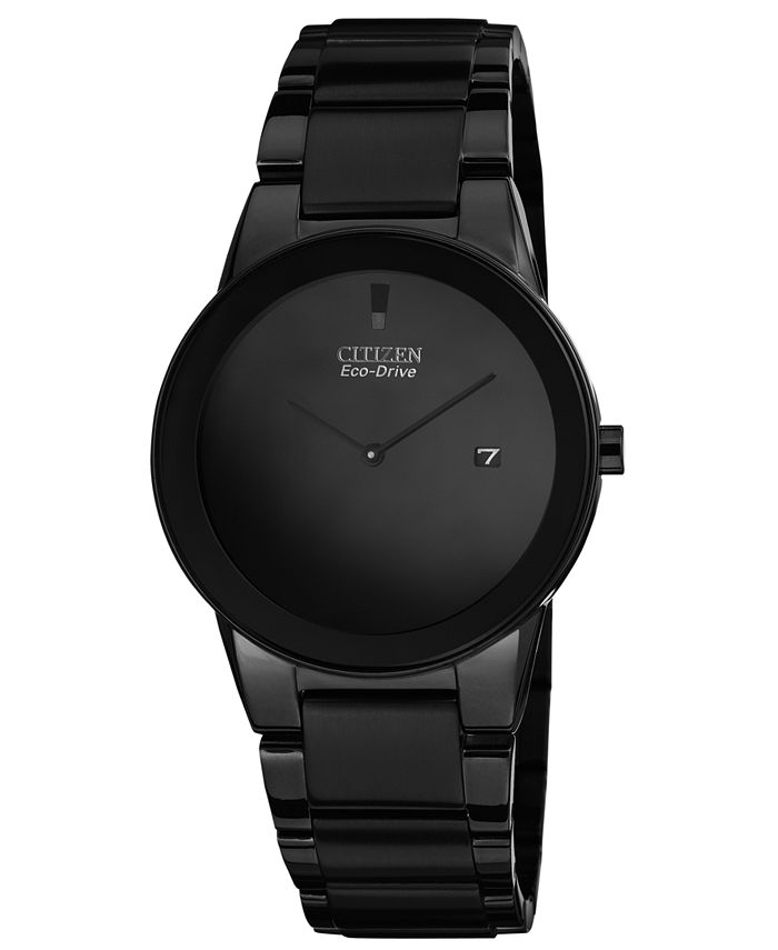 Citizen - Men's Eco-Drive Axiom Black Ion-Plated Stainless Steel Bracelet Watch 40mm AU1065-58E