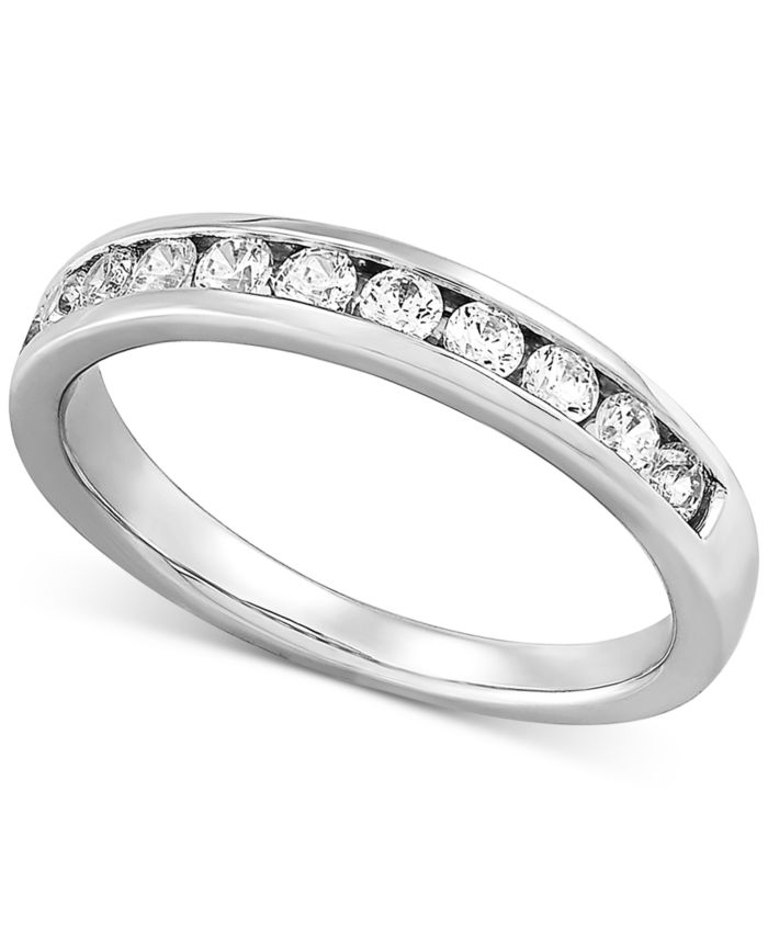 Forever Grown Diamonds Lab Created Diamond Channel-Set Band (1/2 ct. t.w.) in Sterling Silver & Reviews - Rings - Jewelry & Watches - Macy's
