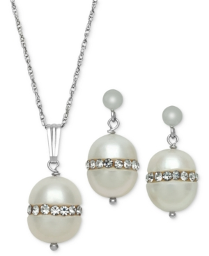 Sterling Silver Necklace and Earring Set, Cultured Freshwater Pearl (8mm) and Crystal Pendant and Earring Set