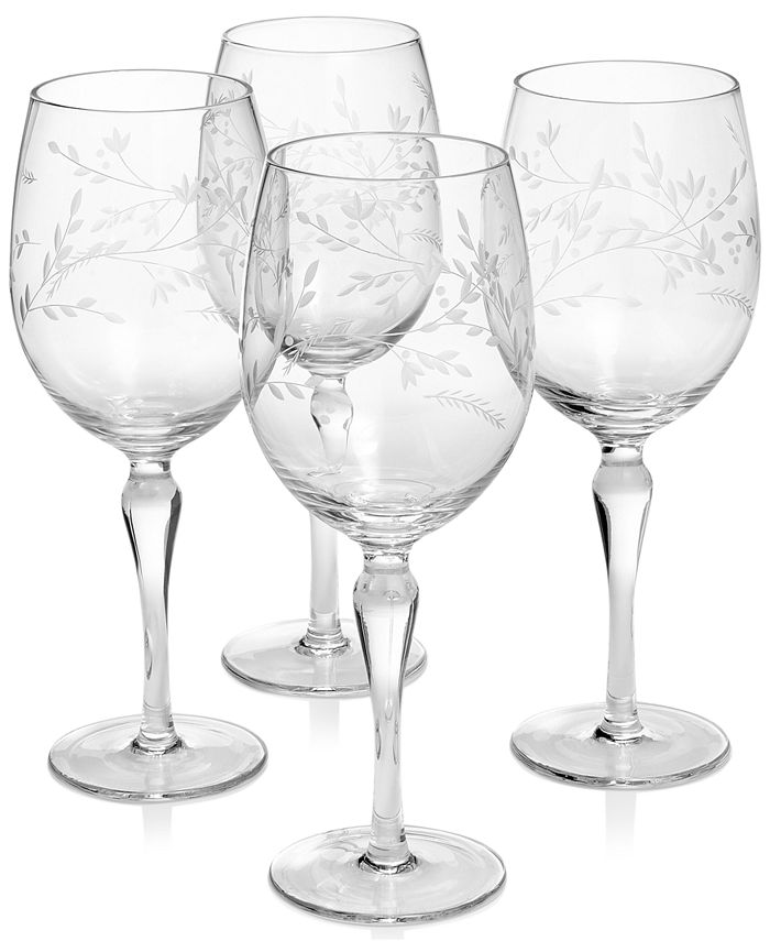 Hotel Collection - Etched Floral Wine Glasses, Set of 4, Created for Macy's