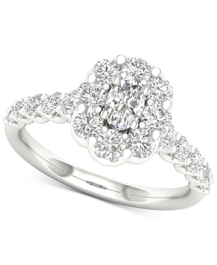 Macy's - Diamond Oval Flower Halo Engagement Ring (1-3/8 ct. t.w.) in 14k White Gold