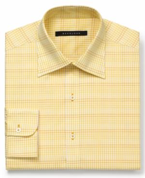 Sean John Dress Shirt Yellow Gingham Check LongSleeved Shirt