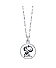 """Snoopy and Woodstock Fine Plated Silver  """"Forever Friends"""" Pendant Necklace, 16"""" + 2"""" Extender for Unwritten"""