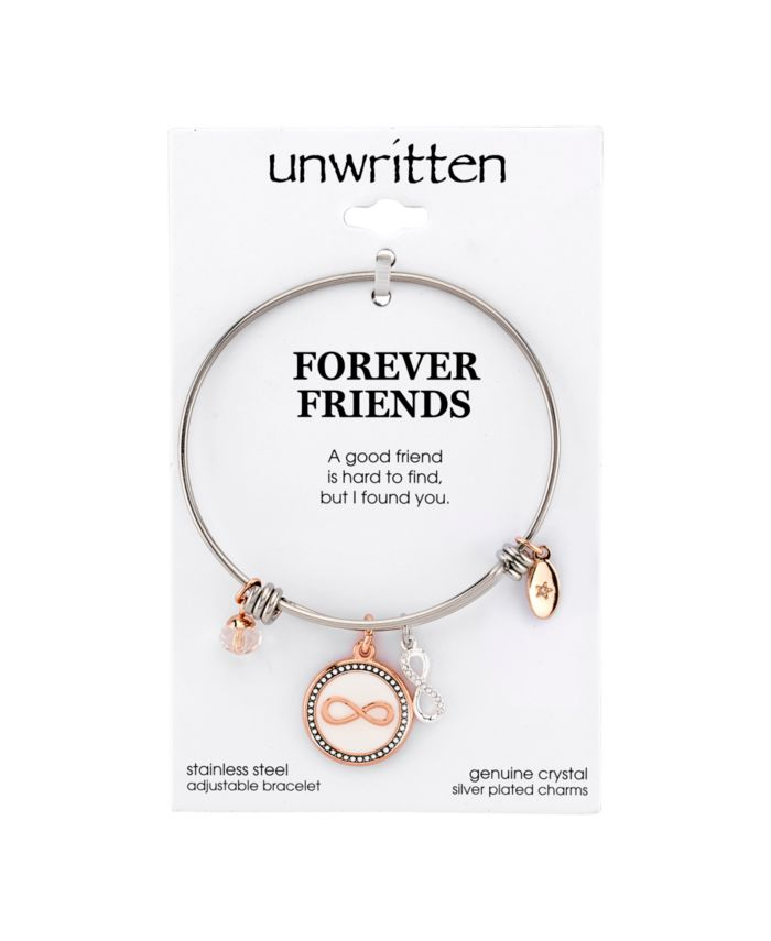 """Unwritten """"Forever Friends"""" Infinity Bangle Bracelet in Stainless Steel & Rose Gold-Tone with Silver Plated Charms & Reviews - Bracelets - Jewelry & Watches - Macy's"""