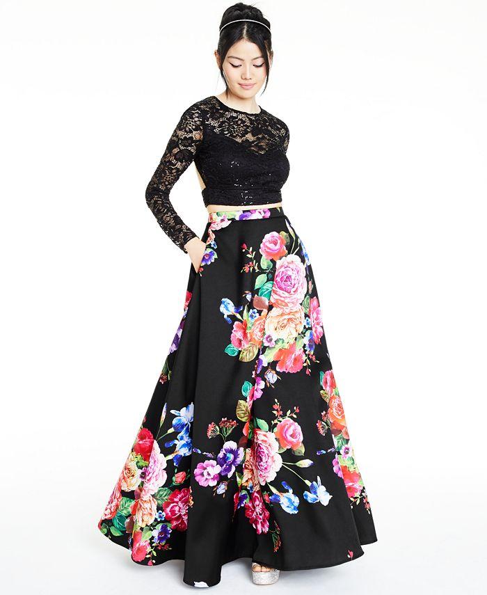 B Darlin - Juniors' 2-Pc. Lace & Floral-Print Gown