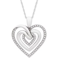 Macys Diamond Multi-Heart 18-in Pendant Necklace 1/10 cttw