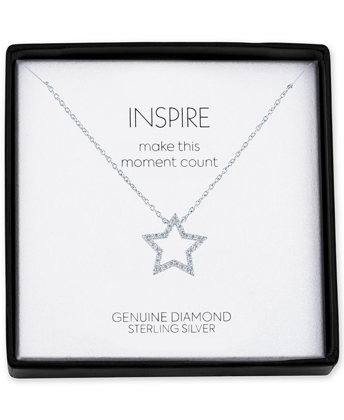 """Macy's - Diamond Accent Star 18"""" Pendant Necklace in Sterling Silver"""