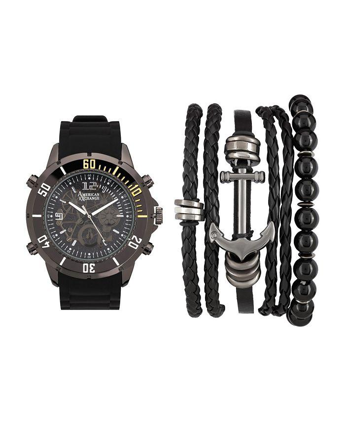 American Exchange - Men's Analog Quartz Watch And Stackable Set Black/Grey