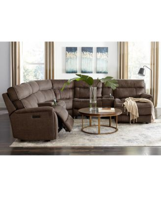 Hutchenson 5-Pc. Fabric Sectional with 2 Power Recliners, Power Headrests and Console
