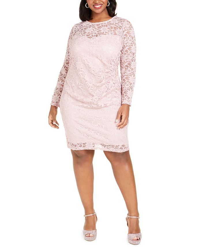 BCX - Trendy Plus Size Glitter Lace Illusion Dress