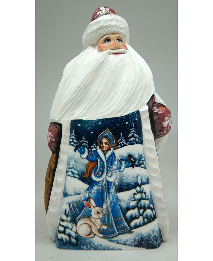 G Debrekht Woodcarved And Hand Painted Snow Maiden With Bunny Santa Figurine Reviews Shop All Holiday Home Macy S