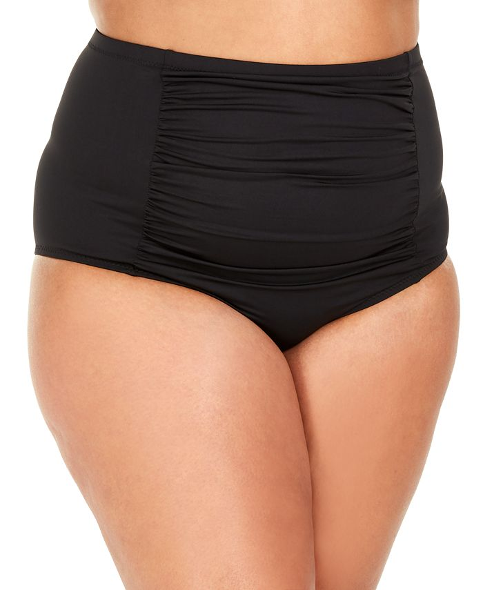 Becca ETC - Plus Size Solid Color Code Shirred Front High-Waist Bottoms
