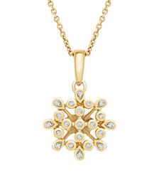 Diamond (1/10 ct. t.w.) Bezel Flower Pendant in 14k Yellow Gold Over Silver