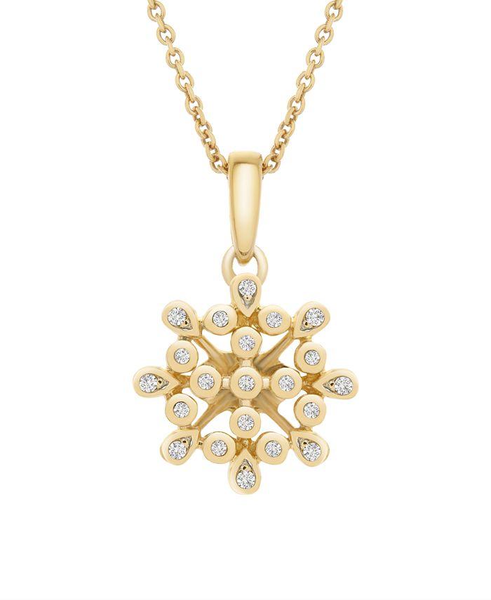Macy's - Diamond (1/10 ct. t.w.) Bezel Flower Pendant in 14k Yellow Gold Over Silver