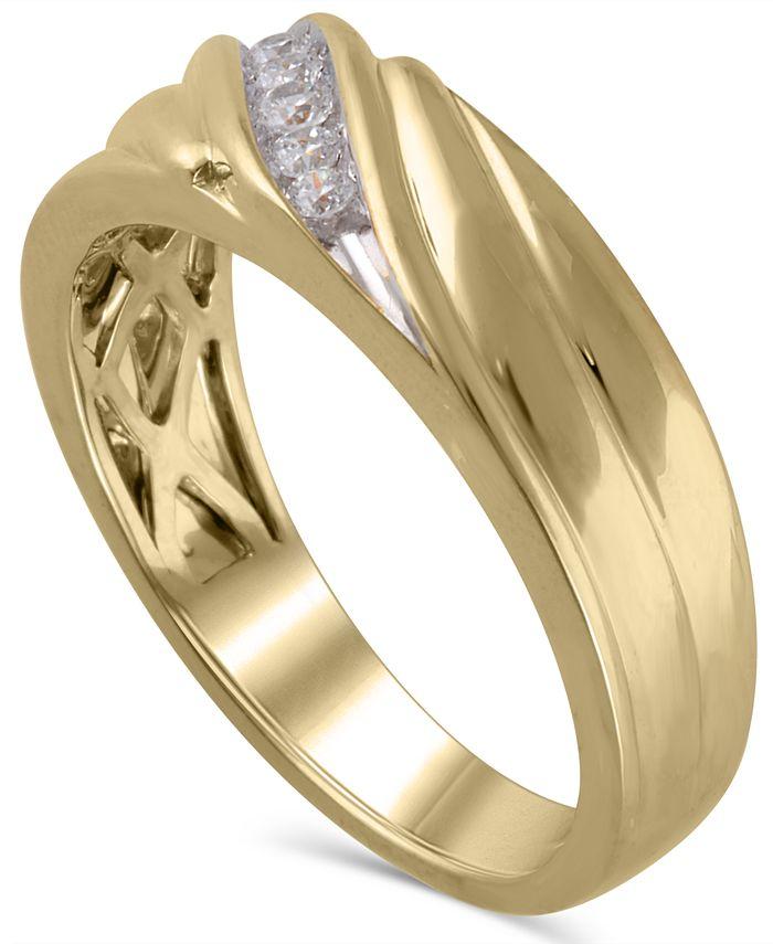 Macy's - Men's Certified Diamond (1/6 ct. t.w.) Ring in 14K Yellow Gold