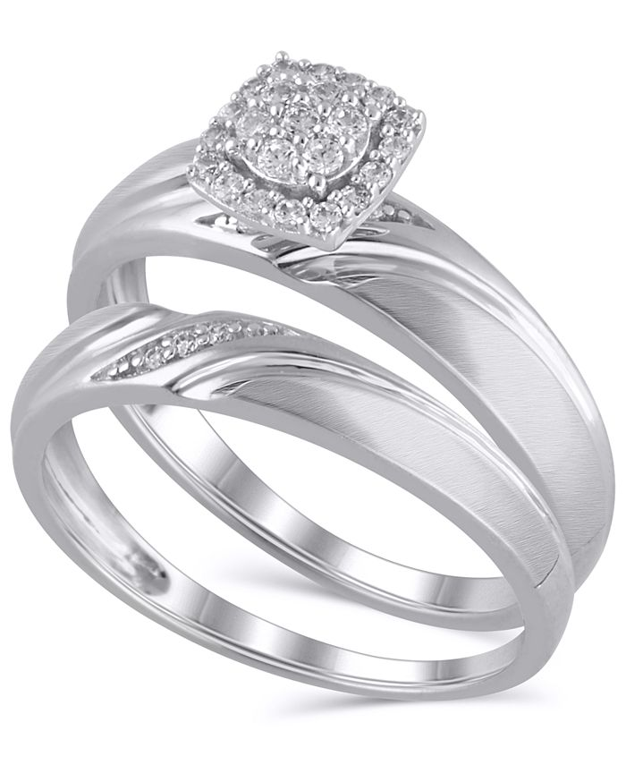 Macy's - Certified Diamond (1/6 ct. t.w.) Bridal Set in 14K White Gold