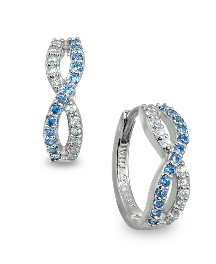 Giani Bernini - White and Blue Cubic Zirconia Infinity Huggie Hoop Earrings in Sterling Silver