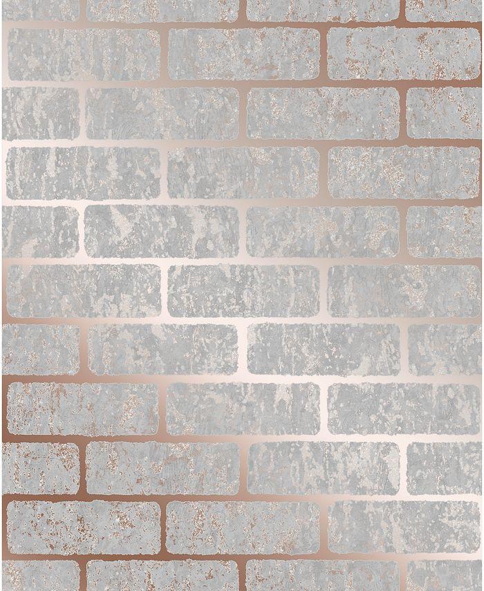 Graham & Brown - Milan Brick Taupe and Gold Wallpaper