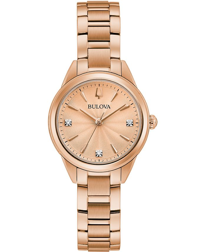 Bulova - Women's Sutton Diamond-Accent Rose Gold-Tone Stainless Steel Bracelet Watch 28mm