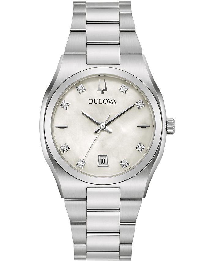 Bulova - Women's Surveyor Diamond-Accent Stainless Steel Bracelet Watch 34mm