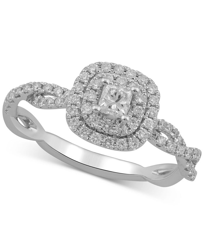 Macy's - Diamond Princess Braided Engagement Ring (5/8 ct. t.w.) in 10k White Gold