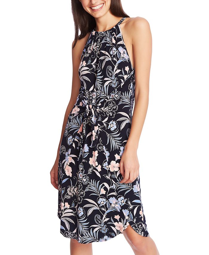 1.STATE - Floral-Print Tie-Front Dress