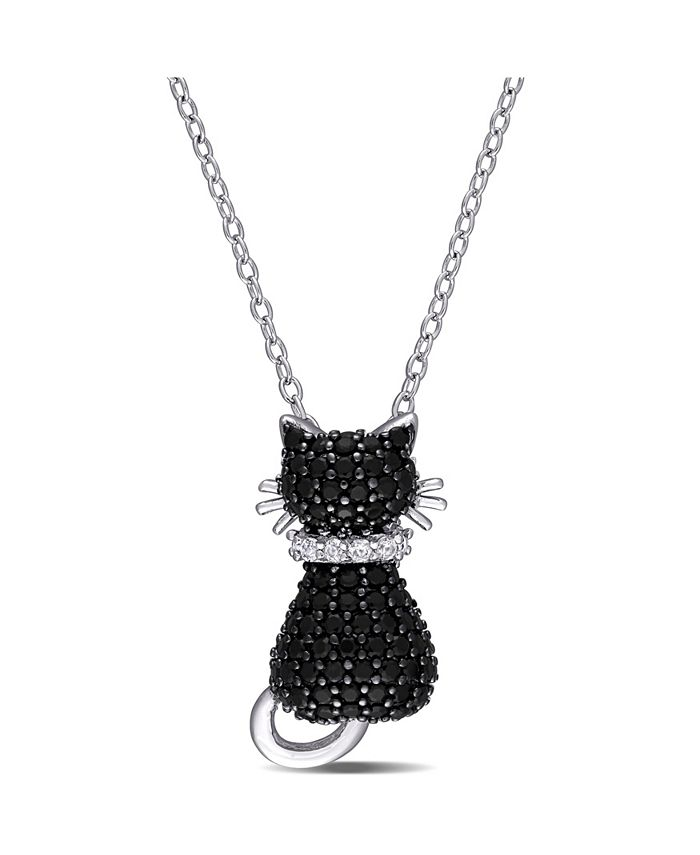 Macy's - Black Spinel (2 1/3 ct. t.w.) and Created White Sapphire Accent (0.06 ct. t.w.) Kitty Cat Necklace in Sterling Silver