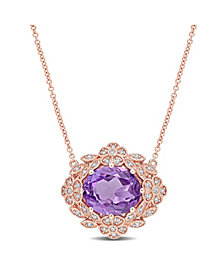Amethyst (4 ct. t.w.) and Diamond (1/5 ct. t.w.) Floral Vintage Necklace in 14k Rose Gold