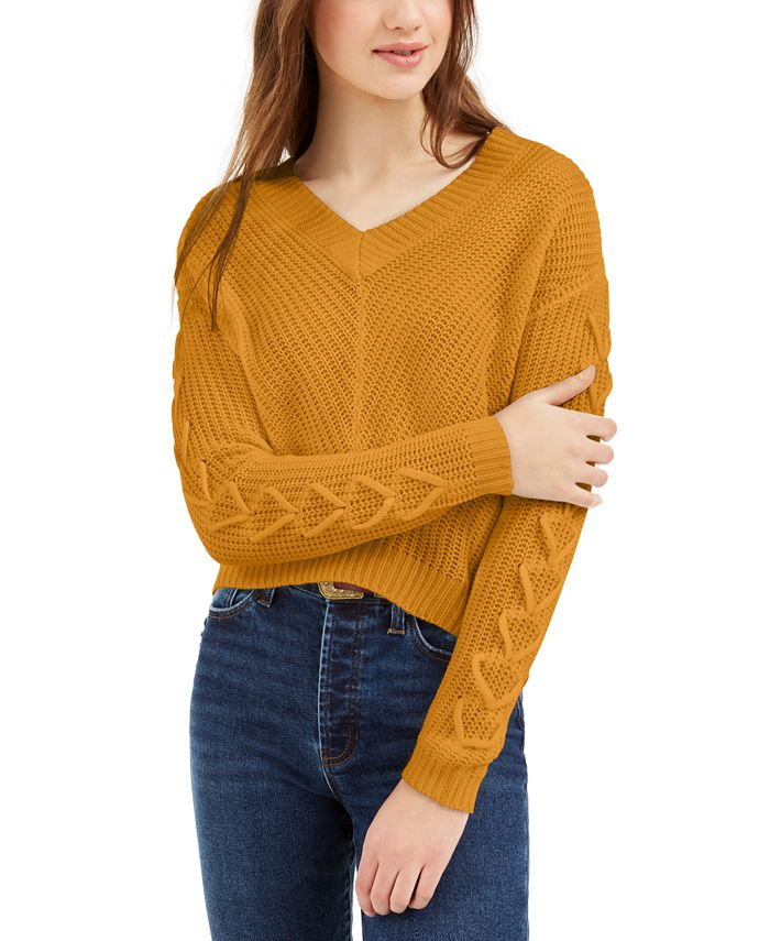 Almost Famous - Juniors' Lace-Up V-Neck Sweater
