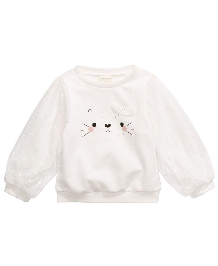 First Impressions - Baby Girls Cotton Animal Face Sweatshirt