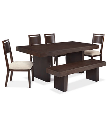 Garwood Dining Room Furniture 6 Piece Set Table 4 Side Chairs And Bench