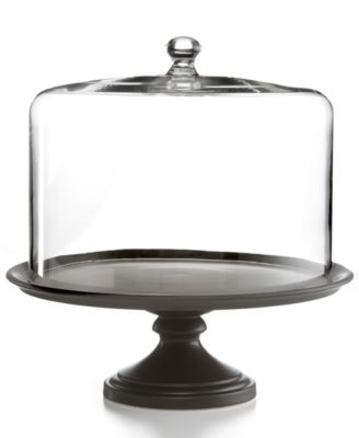 Martha Stewart Collection Serveware, Black Ceramic Cake Stand with Dome