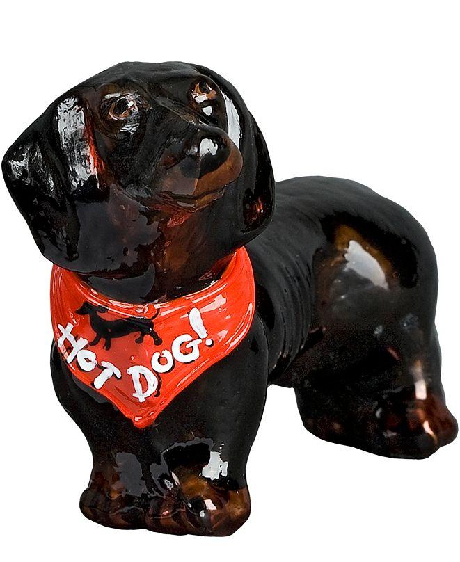 """Joy to the World Dachshund Black with Red Bandana """"Hot Dog"""""""