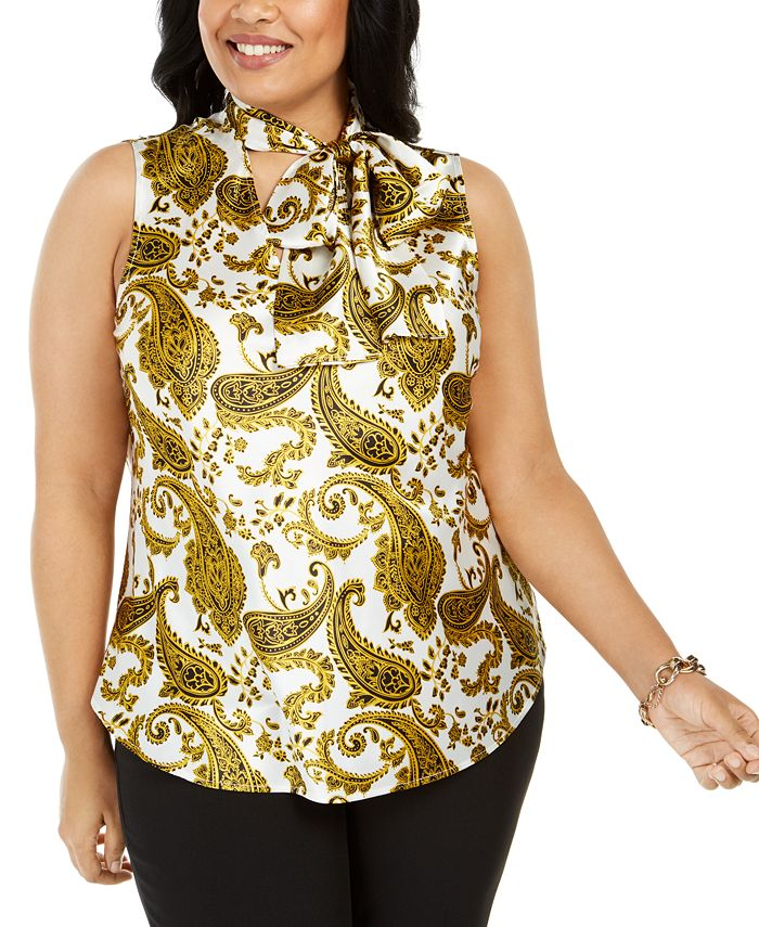 Kasper - Plus Size Paisley-Print Tie-Neck Top