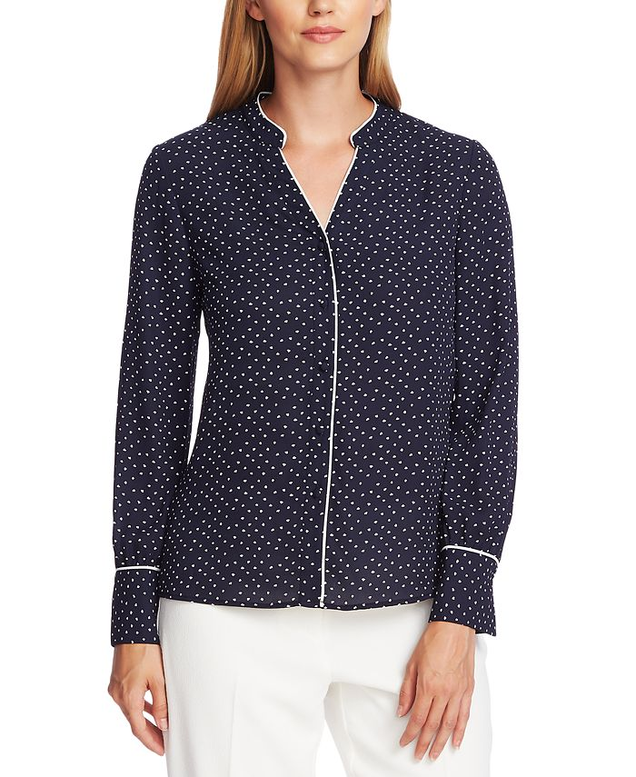 Vince Camuto - Printed Contrast-Trim Blouse