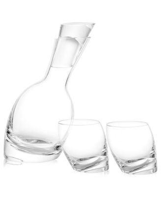 Nambe Tilt Decanter and Set of 2 Double Old Fashioned Glasses