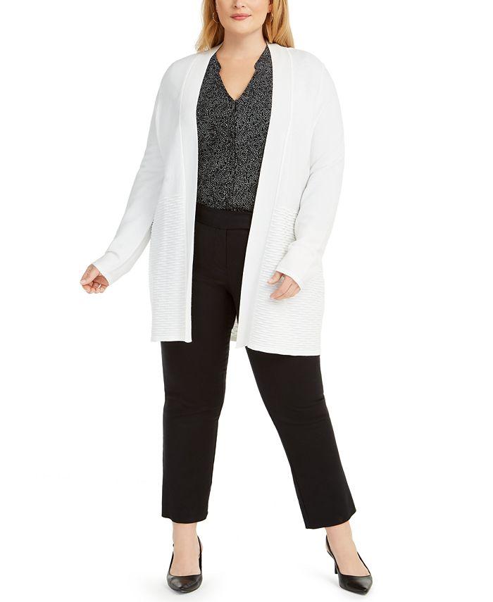Alfani - Plus Size Open-Front Knit Cardigan Sweater