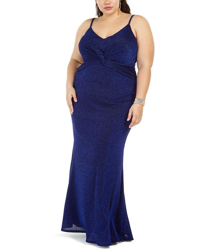 City Studios - Trendy Plus Size Twist-Center Gown