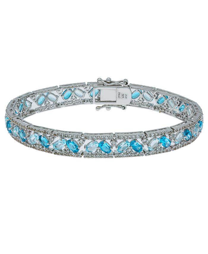 Macy's - Blue and White Topaz Tennis Bracelet in Sterling Silver