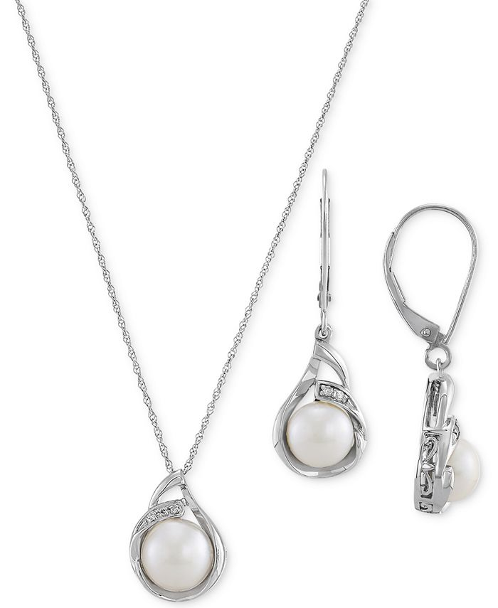 Macy's - 2-Pc. Set Cultured Freshwater Pearl (7 & 10mm) & Diamond (1/20 ct. t.w.) Pendant Necklace & Matching Drop Earrings in Sterling Silver