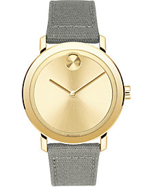 Movado Men's Swiss Bold Evolution Gray Waxed Canvas Strap Watch 40mm