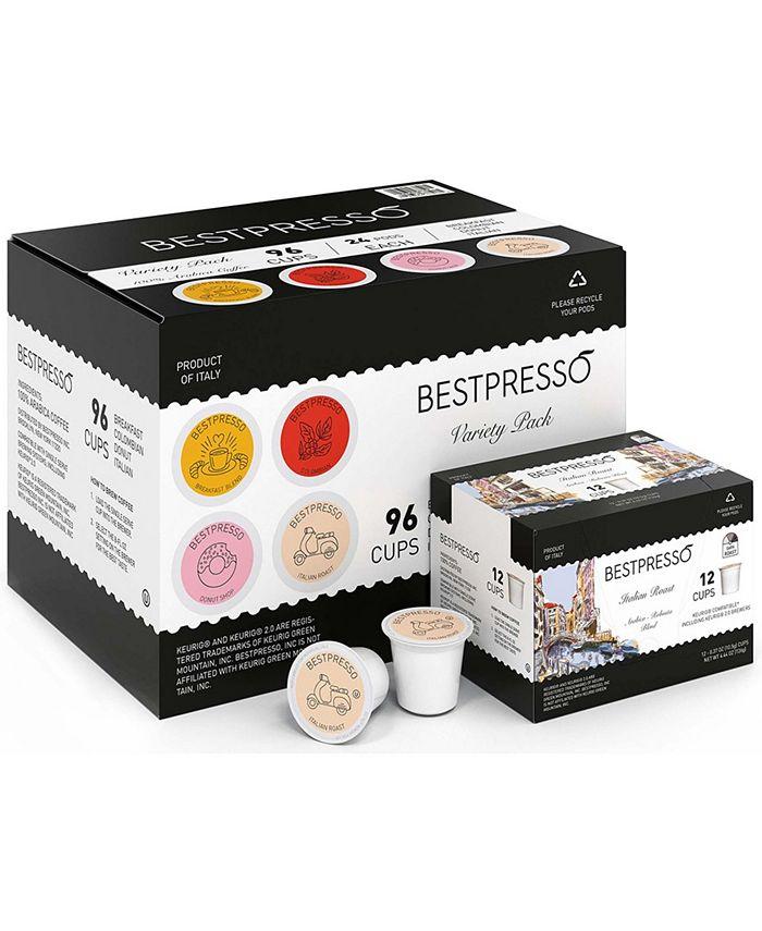 Bestpresso - Variety Pack 96 Pods per Pack. Breakfast Blend – 24 Pods (Light Roast), Donut Shop –24 Pods (Medium Roast), 100% Colombian – 24 Pods (Medium Roast), Italian Roast – 24 Pods (Dark Roast)