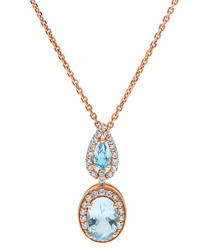 Macy's - Aquamarine (1-1/3 ct. t.w) Diamond (1/3 ct. t.w) Pendant set in 14K Rose Gold