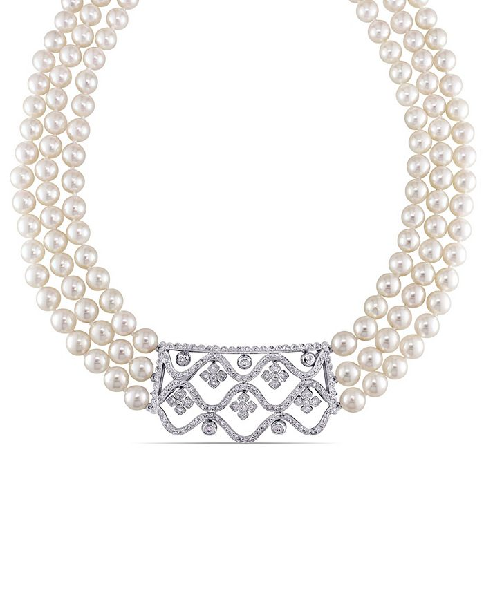 "Macy's - Akoya Cultured Pearl (6.5-7mm) and Diamond (1 3/8 ct. t.w.) 3-Strand 18"" Necklace 14k White Gold Clasp"