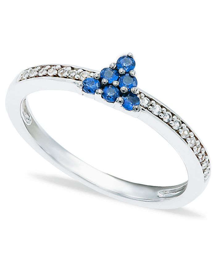 Macy's - Blue Sapphire (1/4 ct. t.w.) Diamond (1/20 ct. t.w.) Stackable ring  in Sterling Silver