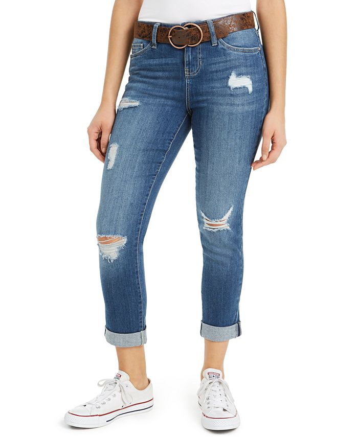 Dollhouse - Juniors' Destructed Cuffed Jeans With Belt