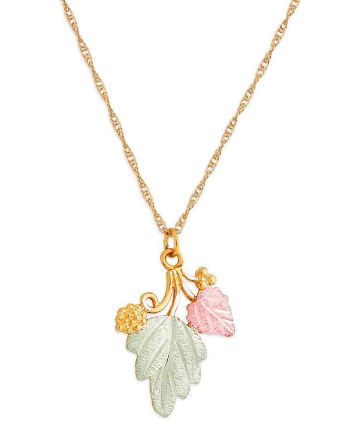 """Black Hills Gold - Grape and Leaf Pendant 18"""" Necklace in 10K Yellow Gold with 12K Rose and Green Gold Details"""